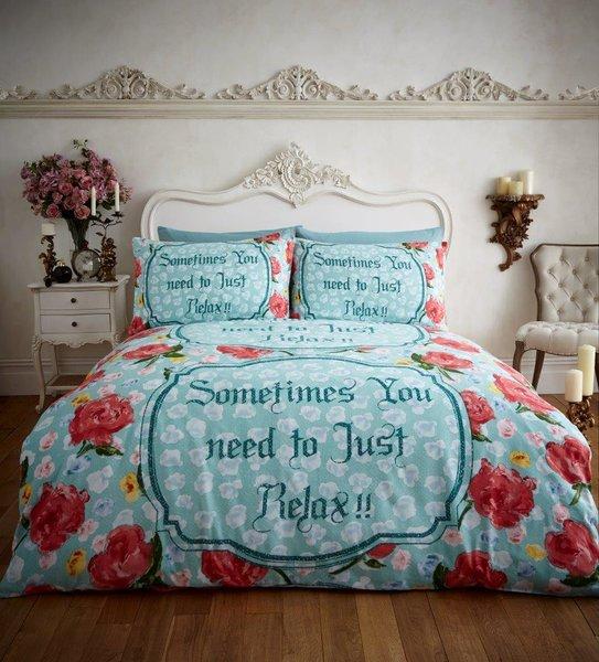 Relax teal flannelette duvet cover