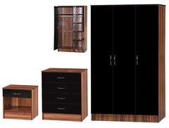 Alpha 3 door black gloss & walnut 3 piece bedroom furniture set