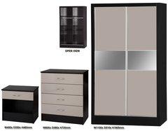 Alpha slider grey gloss & black 3 piece bedroom furniture set