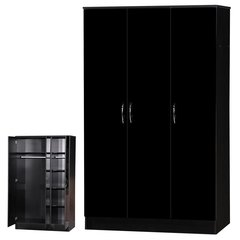 Alpha black gloss 3 door wardrobe