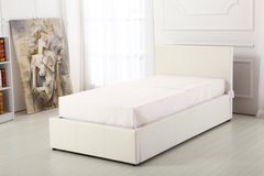 Boston white faux leather ottoman storage bed