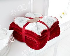Flannel Sherpa fleece red throw