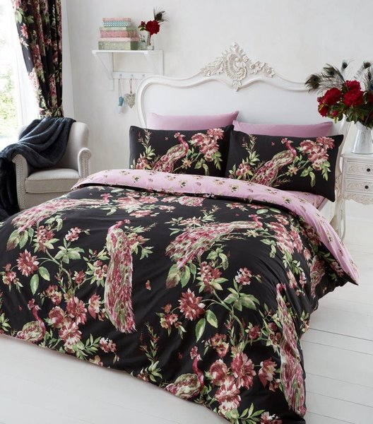 Plume black duvet cover