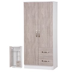 Marina grey oak & ash white 2 door combi wardrobe
