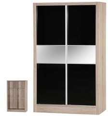 Alpha slider black gloss & san oak 2 door wardrobe