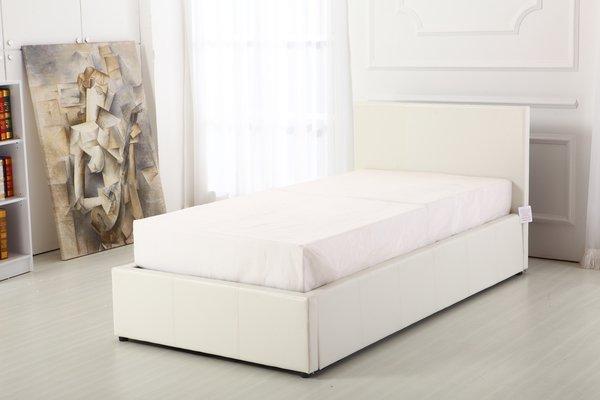Boston white faux leather ottoman storage bed