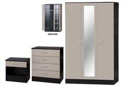 Alpha 3 door mirrored grey gloss & black 3 piece bedroom furniture set