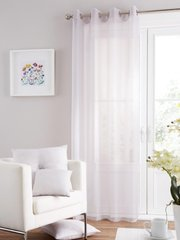 Swiss voile silver eyelet curtain panel