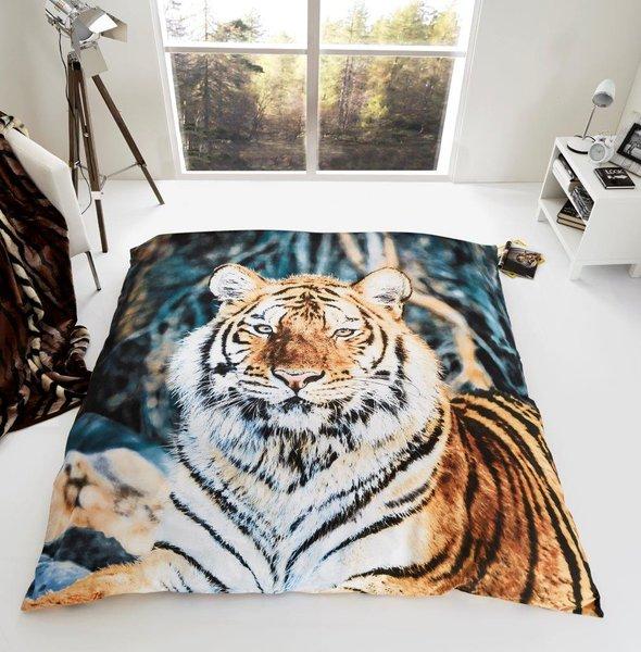 Tiger faux mink fur throw / blanket
