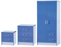 Marina blue 3 piece bedroom furniture set