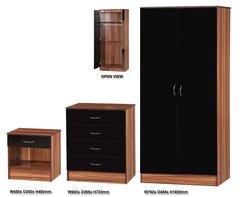 Alpha black gloss & walnut 3 piece bedroom furniture set