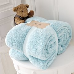 Teddy plain duck egg fleece throw