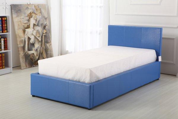Boston blue faux leather single ottoman storage bed