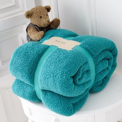 Teddy plain teal fleece throw