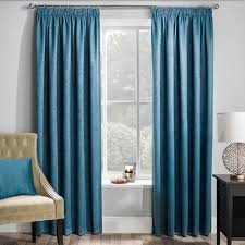 Matrix teal blockout pencil pleat curtains