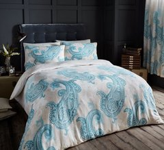 Paisley Crescent cream/teal duvet cover