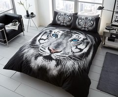 3D print black & white Tiger Face duvet cover