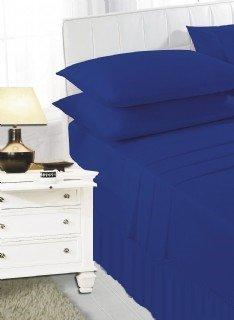 Royal blue frilled valance sheet