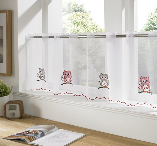 Owls ready made cafe curtain panel