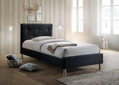 Eden diamante black single fabric bed