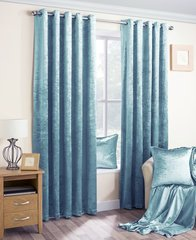 Velva crushed velvet duck egg eyelet curtains
