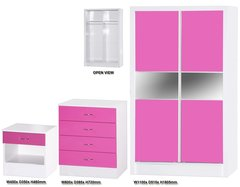 Alpha slider pink gloss & white 3 piece bedroom furniture set