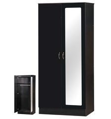 Alpha mirrored black gloss 2 door wardrobe