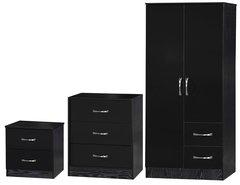 Marina black gloss 3 piece bedroom furniture set