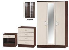 Alpha 3 door mirrored cream gloss & walnut 3 piece bedroom furniture set