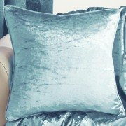 Velva crushed velvet duck egg cushion cover