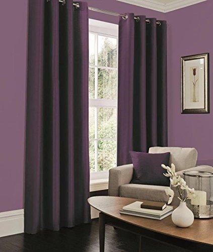 Faux silk aubergine eyelet curtains