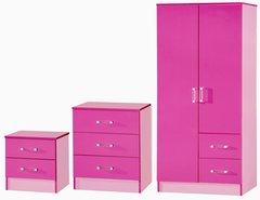 Marina pink 3 piece bedroom furniture set
