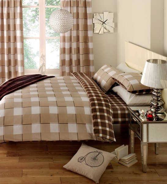 Gingham Check mocha/chocolate single duvet cover