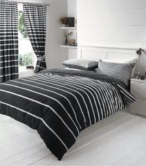 Linear black duvet cover