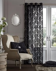 Flock damask black voile eyelet curtain panel