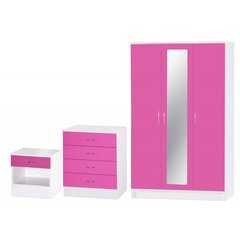 Alpha 3 door mirrored pink gloss & white 3 piece bedroom furniture set