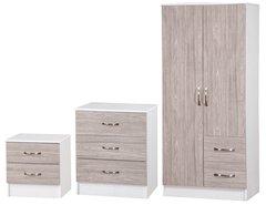 Marina grey oak & ash white 3 piece bedroom furniture set