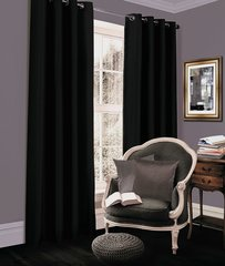 Thermal blackout black eyelet curtains