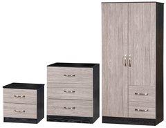 Marina grey oak & ash black 3 piece bedroom furniture set