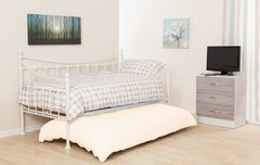 Jasmine white metal single daybed with trundle