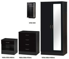 Alpha mirrored black gloss 3 piece bedroom furniture set