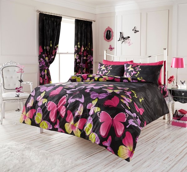 Fashion Butterfly black duvet cover