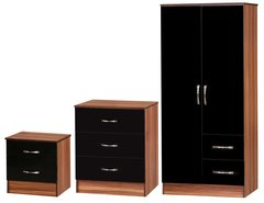 Marina black gloss & walnut 3 piece bedroom furniture set