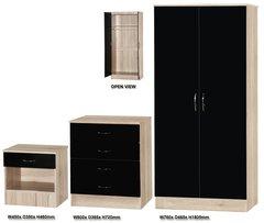Alpha black gloss & san oak 3 piece bedroom furniture set