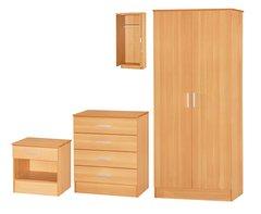 Galaxy beech 3 piece bedroom furniture set