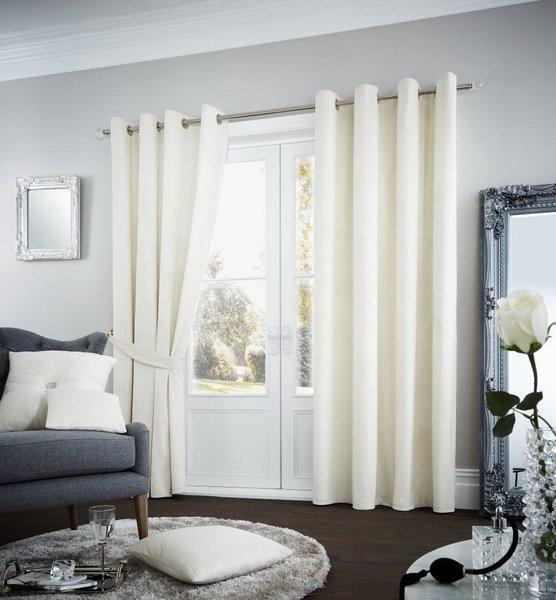 Riviara velvet cream eyelet curtains
