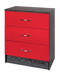 Marina red gloss & ash black chest of 3 drawers