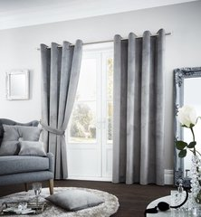 Riviara velvet silver eyelet curtains