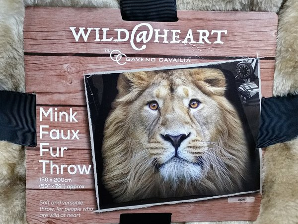 Lion mink faux fur throw / blanket