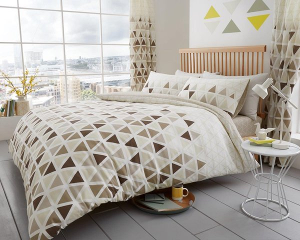 Geo Triangle natural duvet cover